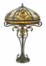 """Real Stained Glass Handcrafted Large Tiffany Style Table Lamp 16"""" Wide"""