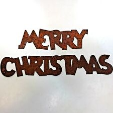 """Rusty Primitive Tin """" MERRY CHRISTMAS"""" Signage  2 Pieces"""