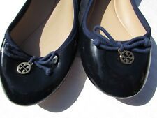 Tory Burch flats Size 9.5, 10 blue gold Patent leather shoes cute classy NEW