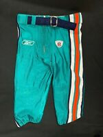 MIAMI DOLPHINS GAME USED TEAL REEBOK FOOTBALL PANTS SIZE 32 SHORT WITH BELT