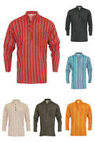 Grandad Shirt 100% Stripe Cotton Kurta Hippy Boho Festival Hippie Jacket Nepal
