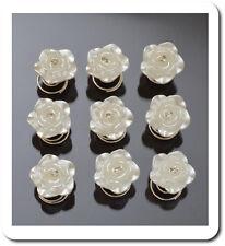 Set 10 Curlies Haarspiralen Blumen Kristall  Spiralhaar Perlmutt-Optik Braut
