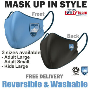 A-League Sydney FC Face Mask Reversible Washable: 3 Sizes: Large, Small or Kids