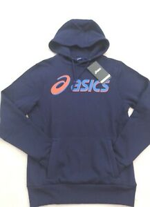 Asics Mens Fleece Hoodie Blue UK Size S