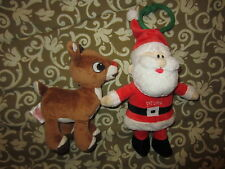 Rudolph Red Nose Reindeer Musical Santa Baby Plush LIGHT & REINDEER RATTLE LOT 2