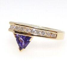 14K Yellow Gold Ring Tanzanite Natural 0.20ctw Diamond Modernist Size 7.5 LHB2