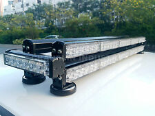 DOUBLE FLOOR FOUR SIDE 396W LED WORK LIGHT BAR RECOVERY BEACON WARNING YELLOW