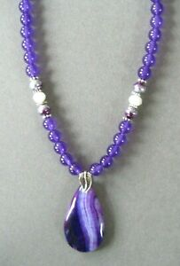Small  Purple Teardrop Striped Agate Pendant Necklace with Agate Beads
