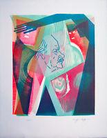 Siegfried Assfalg 1925-2012: Farbholzdruck Bildnis von HAP Grieshaber 1984