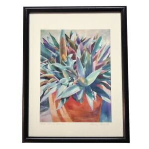 Nancy Abicht Pot of Spikes Succulent Watercolor Print Signed Numbered Framed Vtg
