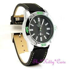 OMAX Waterproof Chunky Black Silver, Green Swiss Seiko Movt Leather Watch OAS183