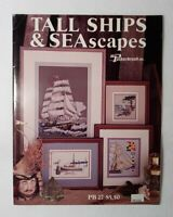 """""""TALL SHIPS & SEASCAPES"""" Rare 1989 Puckerbrush Counted Cross Stitch Leaflet PB27"""