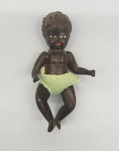 Vintage Antique celluloid African baby doll miniature dollhouse 20s 30s