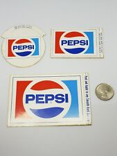 Pepsi Cola Stickers Lot Of 3 All Different Sizes 1980's Vintage