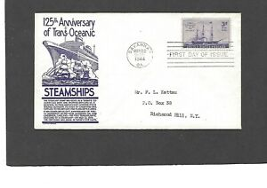 #923 3c STEAMSHIPS ISSUE FDC-SAVANNAH,GA MAY 22-1944 ANDERSON CACHET