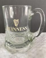 Guinness Heavy Beer Tankard Mug White Harp Logo Clear Glass