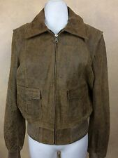 Guess Genuine Brown Leather Bomber Jacket Biker Vintage Inspired Distressed  L