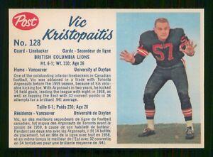 VICK KRISTOPAITIS 1962 POST CFL 1962 NO 128 EXMINT+  25620