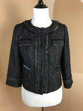 Sz S Halogen Black White Tweed Chain Blazer Snap Jacket Coat Jackie O Career