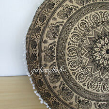 "32"" Large Black Golden Round Pouffe Cover Floor Decorative Cushion Pouf Covers A"