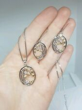-we❤- 925 Sterling Silver Jewelry Set Earrings Necklace Tree Gold Leaf pendant