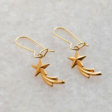 Shooting Star Drop Dangle Earrings - Gold Brass Star Charm Ear Kidney Wires