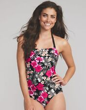 LADIES FIGLEAVES Flora Bandeau Swimsuit Costume Black Floral V Sizes BRAND NEW