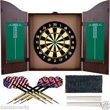 Dartboard Cabinet Set Realistic Walnut Finish Tree 6 Steel Darts For Game Room