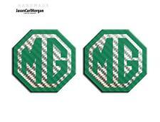 MG TF LE500 70mm Badge Insert Set Front Rear Emblem Logo Green Carbon Badges
