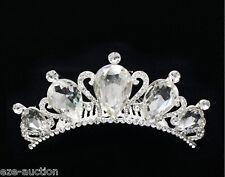 Wedding Bridal Clear Rhinestones Crystal Silver Prom Hair Comb Hair Accessories