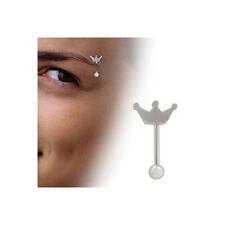 CORONA diseño barra de pesas Ceja Anillo Acero Quirúrgico