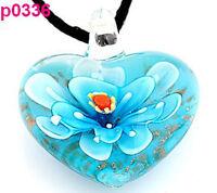 handwork stereoscop Murano Flower art lampwork glass pendant necklace p336