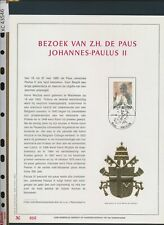 XC43546 Belgium 1985 pope John Paul II on souvenir pages FDC used