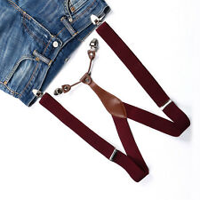 Belt Y-back Clip-on Unisex Warm Red Suspenders Braces Men Women Adjustable BD604