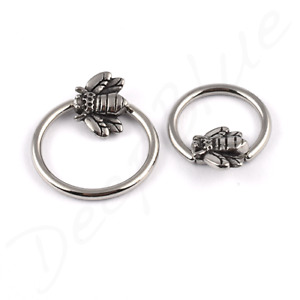 SURGICAL STEEL Micro BCR with STEEL HONEY BEE  Attachment  Nose Daith Conch Ring