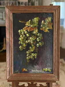 Vintage Miniature Dollhouse IGMA Artisan Jeff Wilkerson Oil Painting Grapes