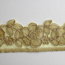 Gold Floral Embroidery Applique Motif Lace Trim  Haberdashery  --- (EB0147) W7cm