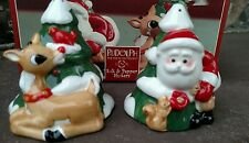 2002 Lenox Christmas salt & pepper shakers Santa Rudolph Red Nosed Reindeer 🎄🎅