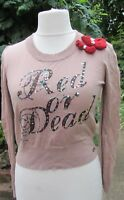 Red Or Dead Ladies Beige Top With Sequined Detail & Bows Size 14