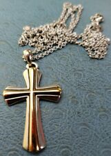 """James Avery Retired 14k/.925 Two-Tone Cross W/Avery Rolo 24"""" Necklace"""
