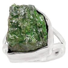 ECHTER TSAVORIT Rohstein Ring Gr17 925 Silber *16x13x9mm*
