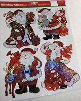 CHRISTMAS Window Cling ASSORTED SANTA'S WITH GIFTS