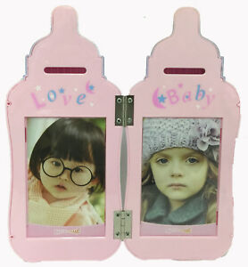 NEW Pink Baby Bottle Picture Frame Bank holds 4 3x5 photos