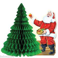 CHRISTMAS CENTREPIECE SANTA & TREE HONEYCOMB PARTY TABLE DECORATION PROP 27CM