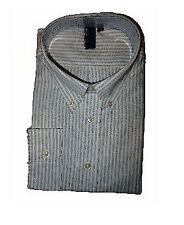 TRUE ROCK Men's Dress Shirt sz 2XL White / Blue Stripes Long Sleeves JFK120