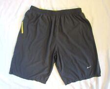 Nike Men's Gray Yellow Trim Running Dri Fit Lightweight Basketball Shorts Xl