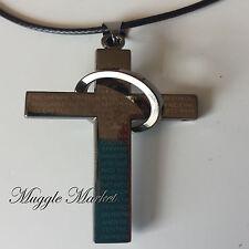 Gun metal black steel cross necklace pendant rope god love
