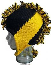 Beanie Mohawk Hat Hand Knit Winter Football Snow Ski 100% Wool Polyfleece  Lined d183482d5b74