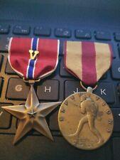 WW2 BRONZE STAR W/ COMBAT V +USMC Expeditionary Medal Thick Strike--SEE STORE