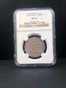 1857 Brazil 1000 Reis, NGC MS 63, Finest @ NGC, 070